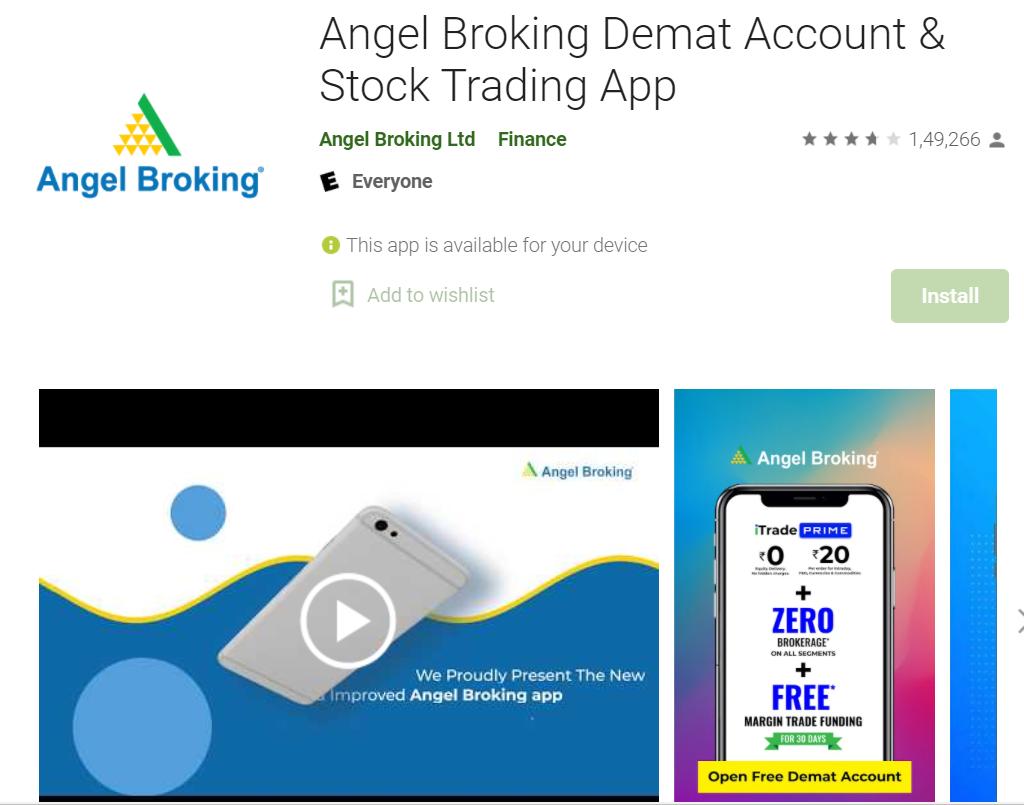 angel Broking app details.
