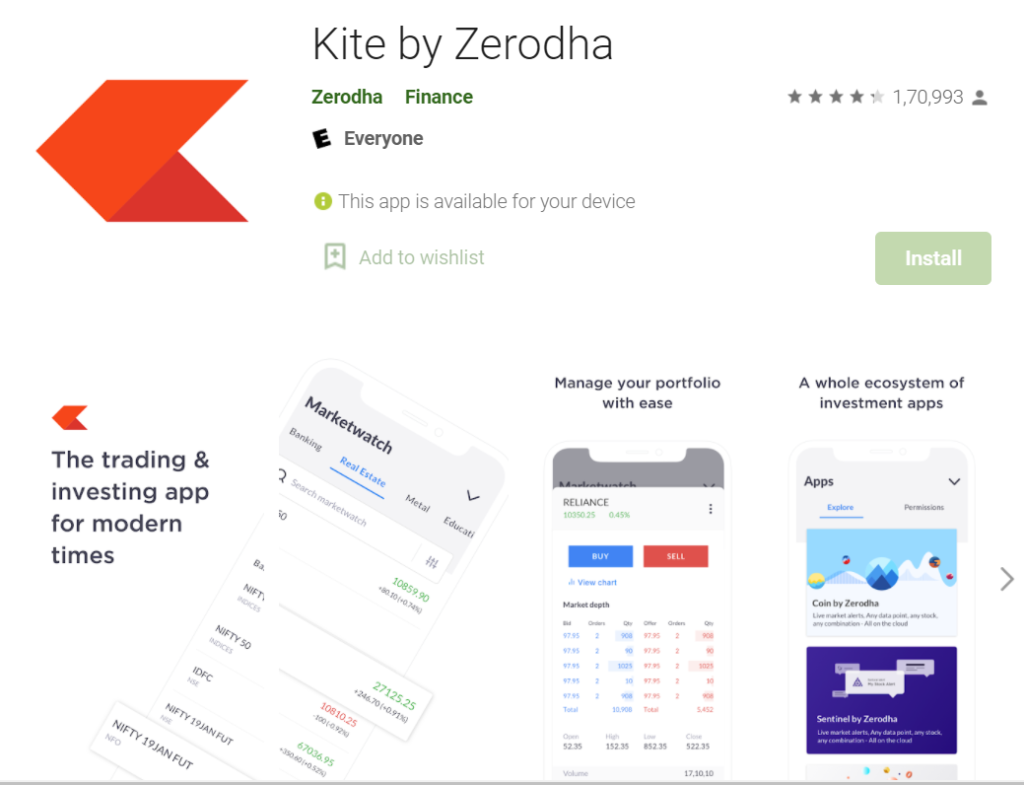 Zerodha mobile app details and reviews.