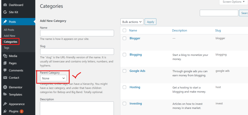 Add parent category in wordpress.