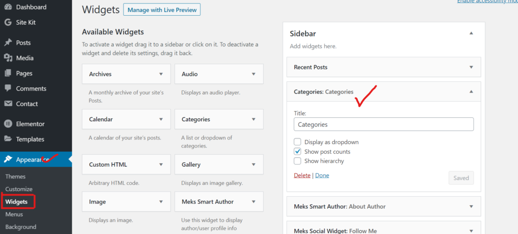 How to display category in wordpress sidebar.