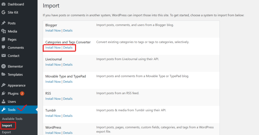 Convert category to tags.