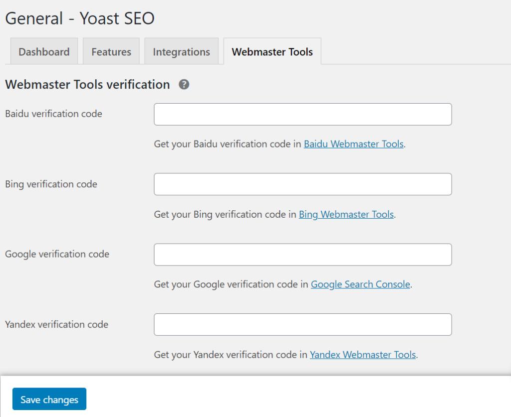 webmaster tool verification