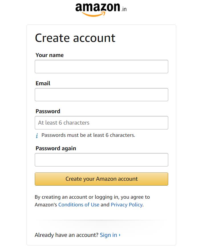 creating amazon account