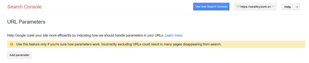 Check URL parameter.