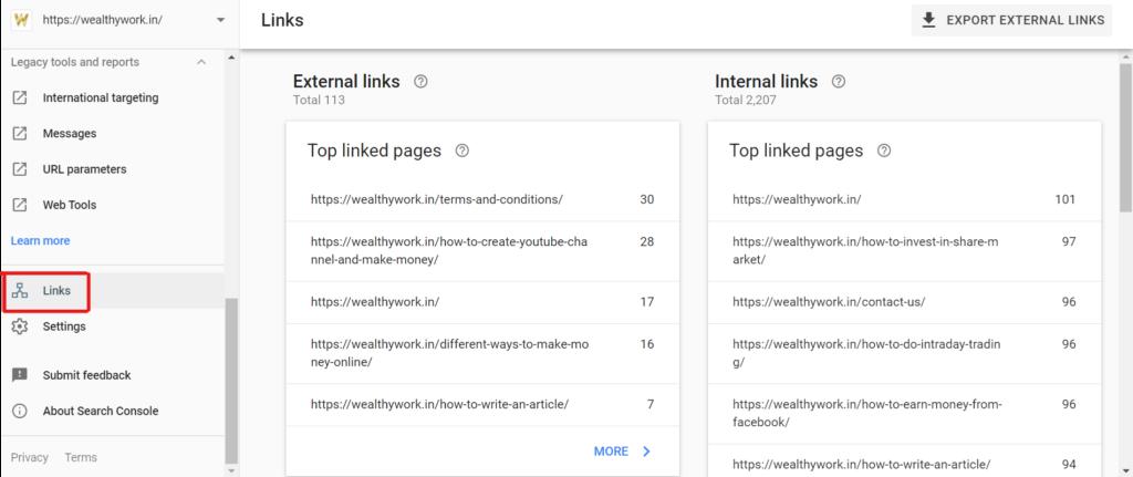 Internal or external links.