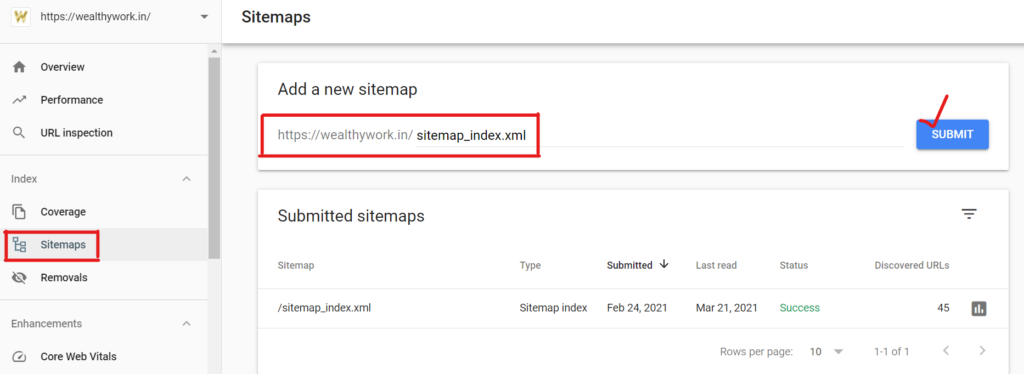 Add sitemap in google search console.